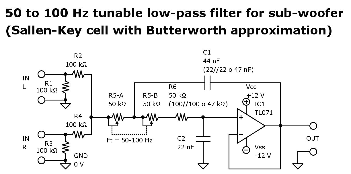 Electronic scheme of a 50 to 100 Hz tunable low-pass filter for sub-woofer (Sallen-Key cell with Butterworth approximation)