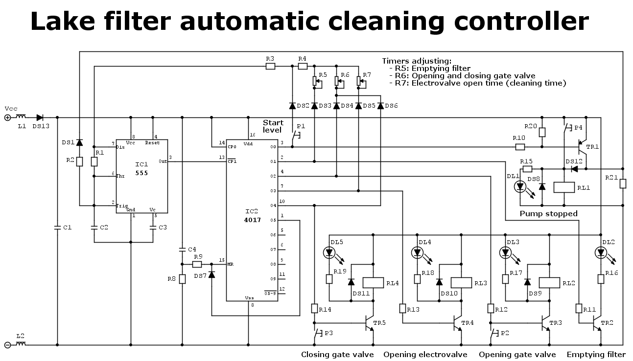 Electronic scheme of a lake filter automatic cleaning controller
