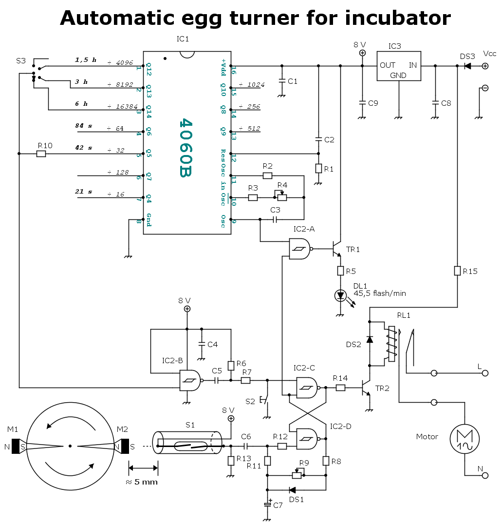 Electronic scheme of an automatic egg turner for incubator